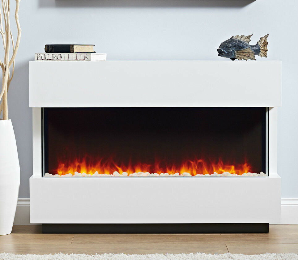 Electric White Surround Modern Led 2kw Flame Pebble Fire