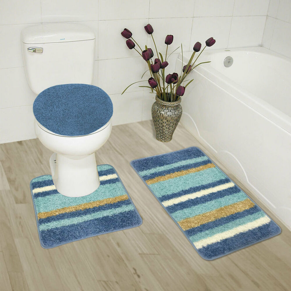 Abby 3 piece bathroom rug set bath rug contour rug lid for Three piece bathroom