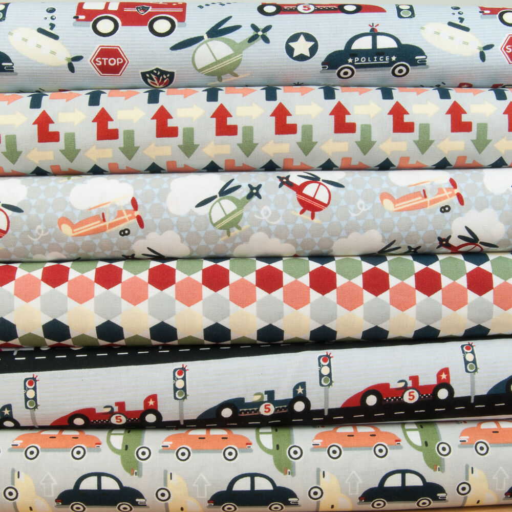 Zoom 100 cotton fabric cars helicopters plane fire for Nursery cotton fabric