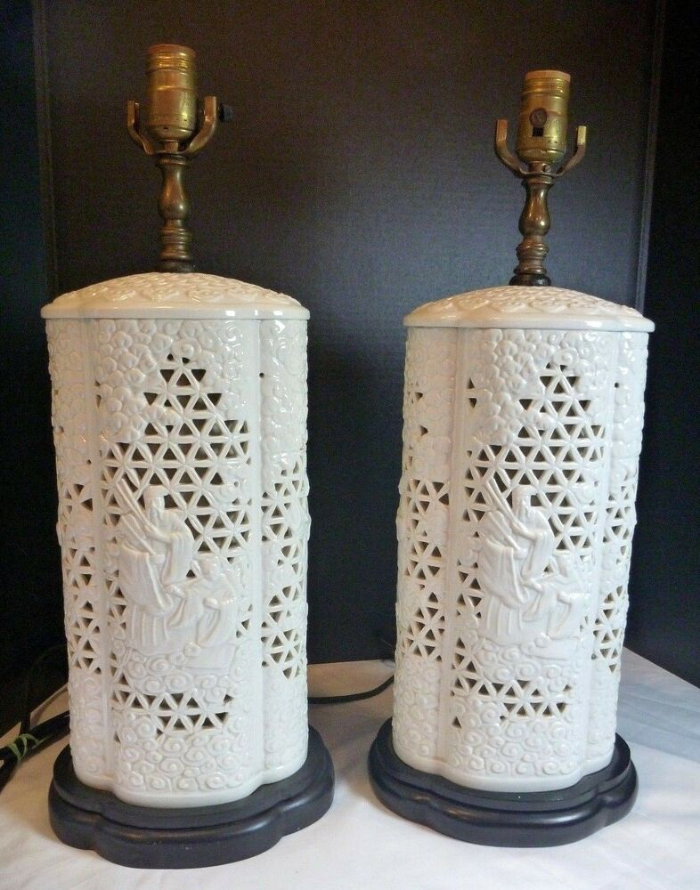 Antique PAIR BLANC DE CHINE PORCELAIN TABLE LAMPS Pierced