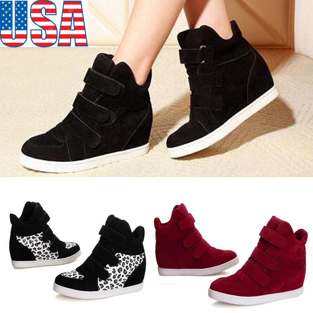 Women Ladies Wedge Sneaker High Top Hidden Heel Flock ...