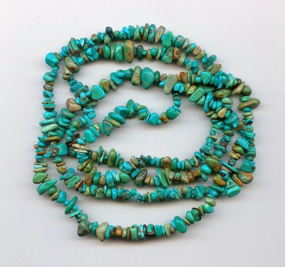 Real Turquoise Loose Pebble Chip Beads 35 Inch Strand ...