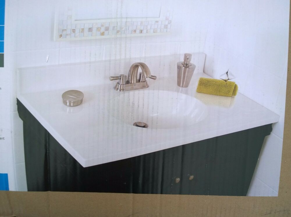 Nib Nice Bathroom White Cultured Marble Vanity Top Sink 31 W X 22 H Ebay
