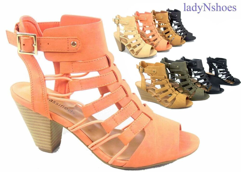 fa64683ad50 Details about NEW Women s Open Toe Buckle Chunky Heel Gladiator Sandals  Shoes Size 5.5 - 11. Popular Item