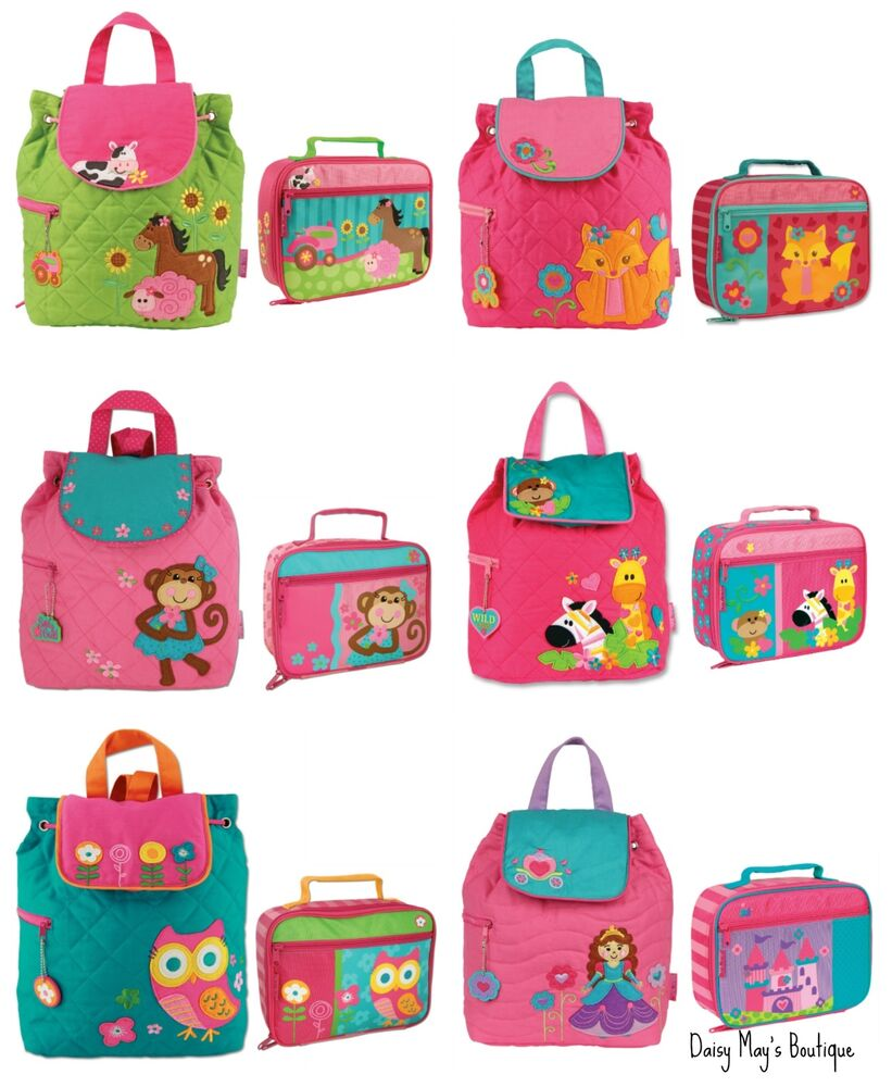 stephen joseph girls quilted backpack and lunch box for kids cute book bags ebay. Black Bedroom Furniture Sets. Home Design Ideas