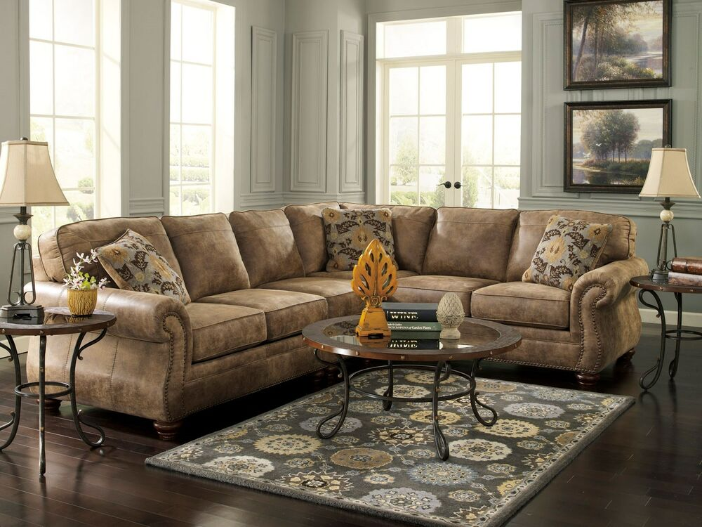 Valentine traditional microfiber sofa couch sectional set for Sectional living room sets