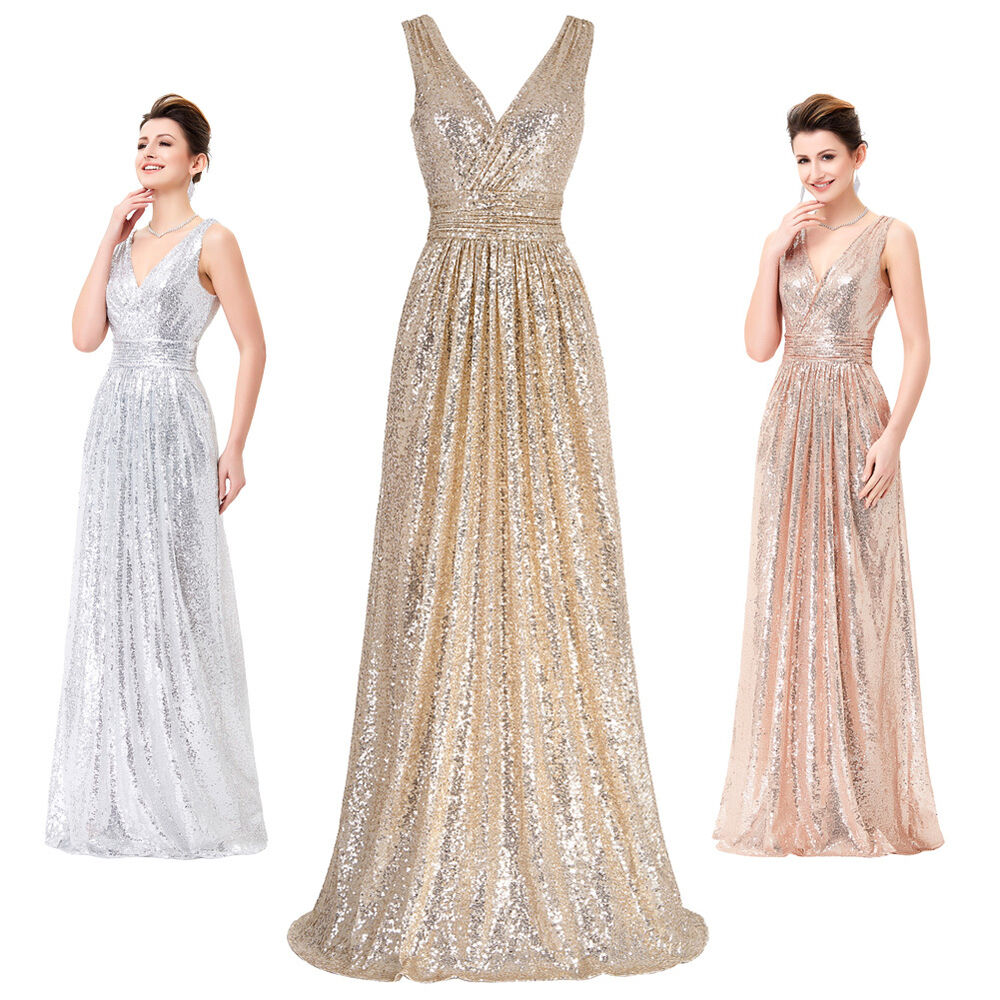 Rose Gold Formal Long Sequins Dress Prom Evening Party