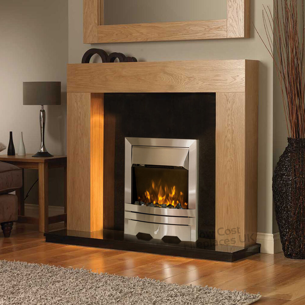 Electric Oak Timber Surround Black Silver Freestanding Wall Fire Fireplace Suite Ebay