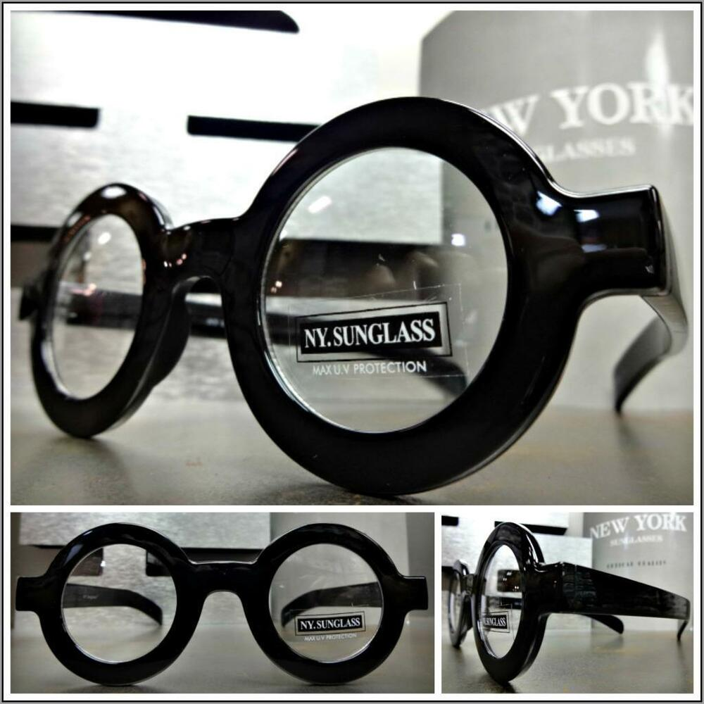s vintage retro style clear lens eye glasses thick