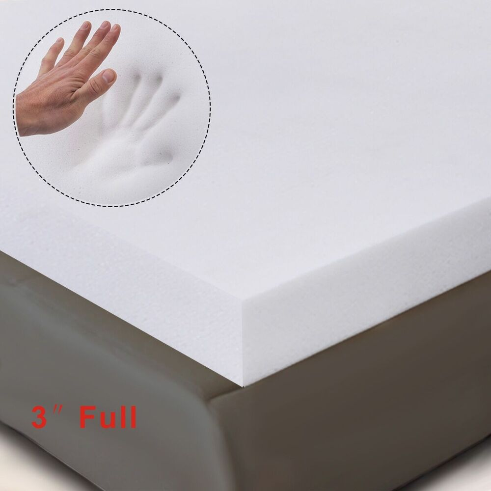 3 full size memory foam mattress pad bed topper 75 x54 x3 new ebay. Black Bedroom Furniture Sets. Home Design Ideas