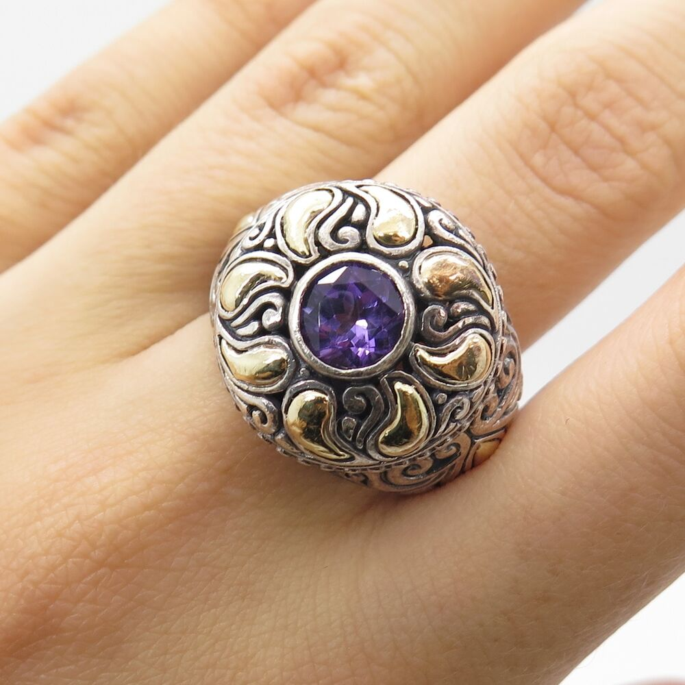 Signed 925 Sterling Silver Amp 18k Gold Real Amethyst