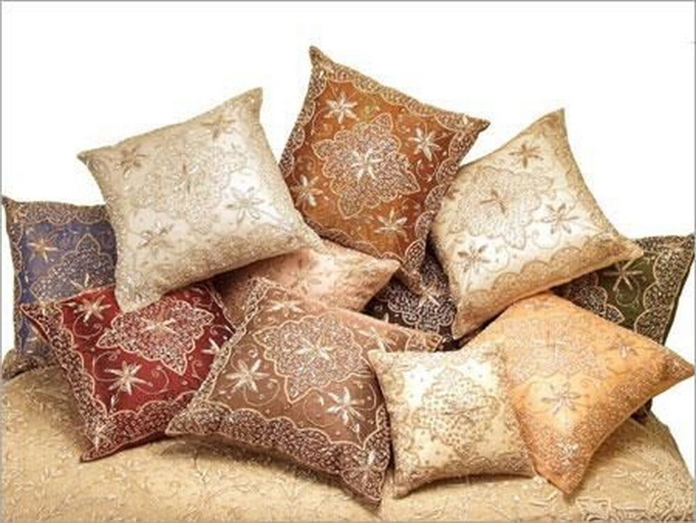 Decorative-Beaded-Sparkly-Throw-Pillow-Cushion-Cover Pillow case-hand made eBay