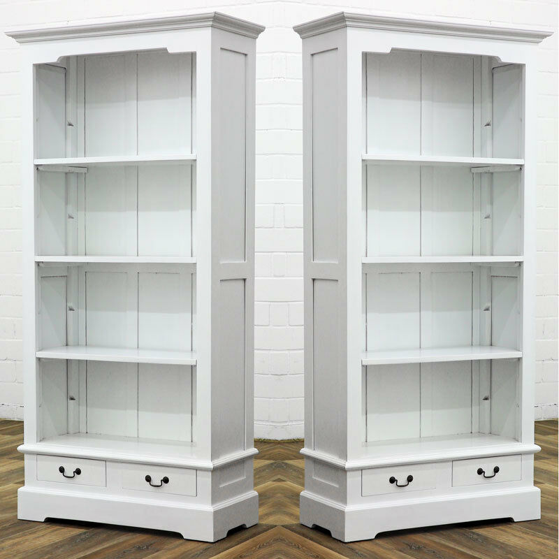 massivholz b cherregal antik weiss buch schrank regal m bel bibliothek ebay. Black Bedroom Furniture Sets. Home Design Ideas