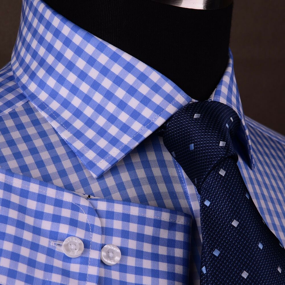 Blue gingham checkered dress shirt mens plaids checks for Mens blue gingham shirt