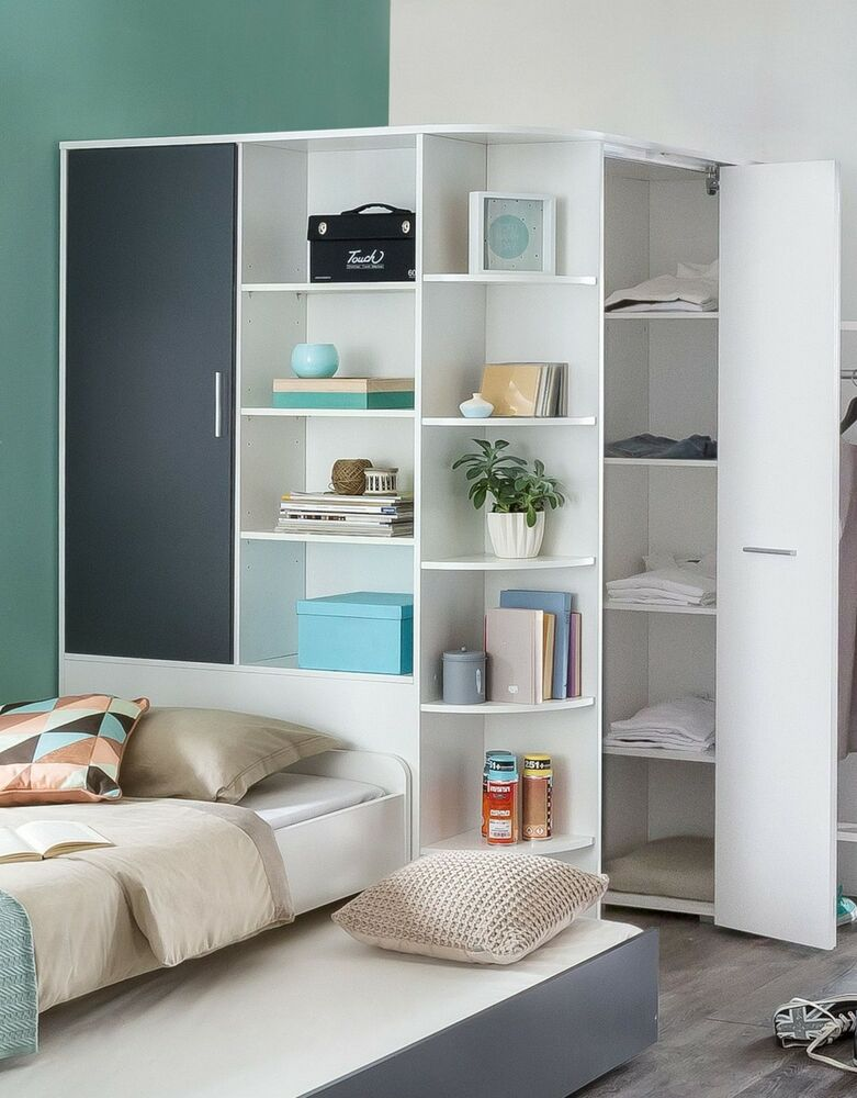 eckschrank begehbar alpinweiss anthrazit kleiderschrank. Black Bedroom Furniture Sets. Home Design Ideas