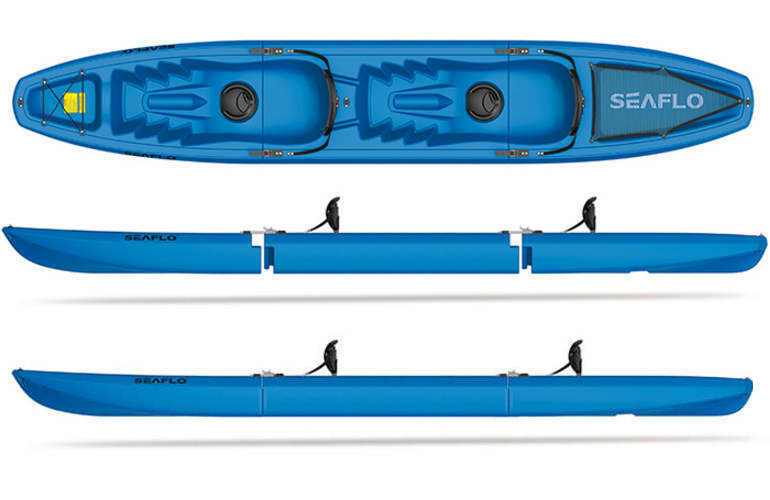 BLUE SEAFLO Tandem 3 Piece Modular Kayak 2 Person Sit On Top Model SF 3001T 793945645497