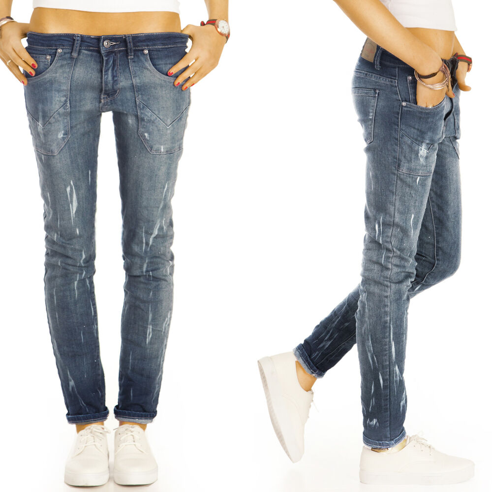 damen jeans hosen boyfriend style r hrenjeans glitzer skinny neu baggy blau j44f ebay. Black Bedroom Furniture Sets. Home Design Ideas