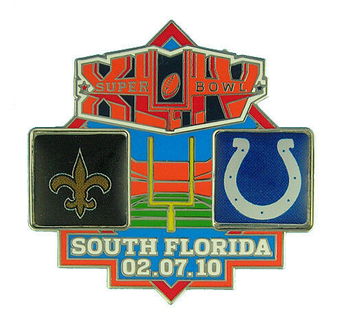 2010 super bowl xliv dueling logo pin new orleans saints