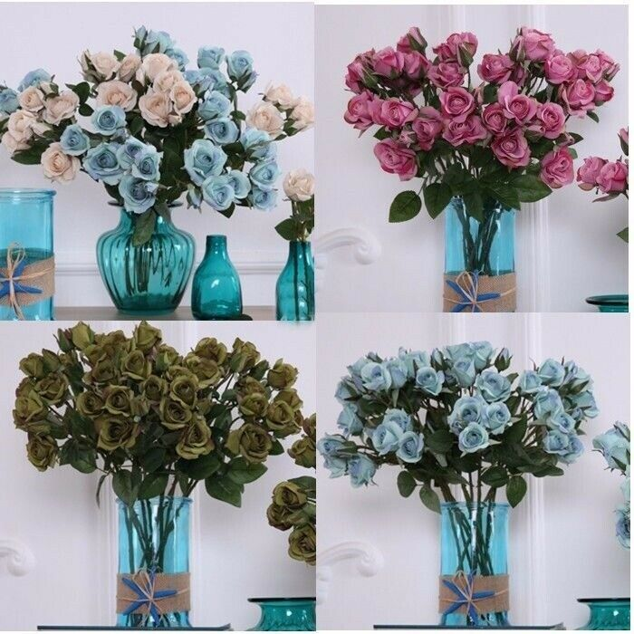 4 Heads Artificial Rose Fake Silk Flowers Home Wedding