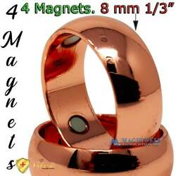 4X3000 GAUSS PURE SOLID COPPER RING MAGNETIC ARTHRITIS DOMED SIZE 7-15 CR1