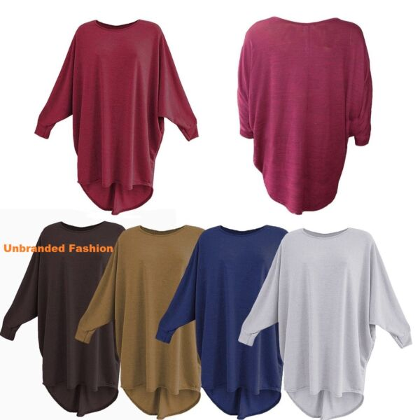 Ladies Women Plain Batwing Oversized Long Sleeve Baggy Sweater Jumper Top 8-26.