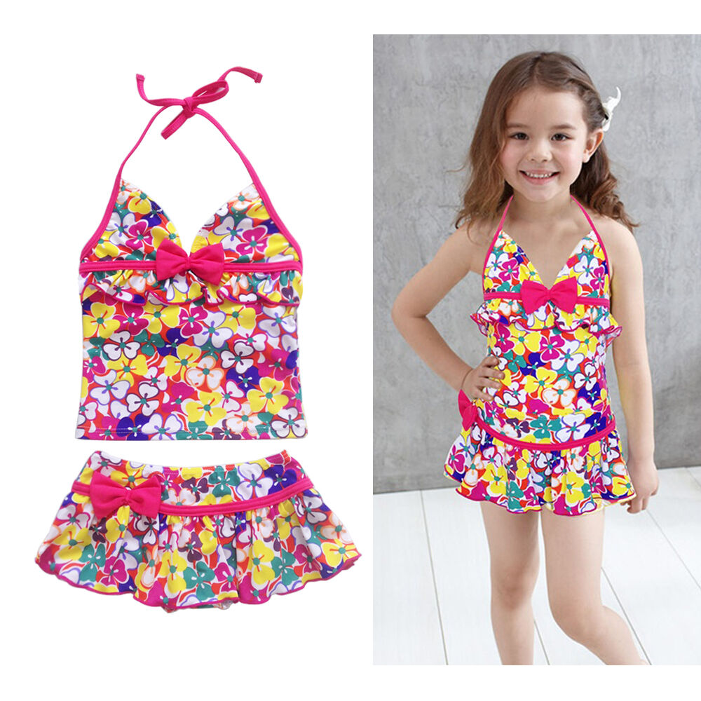 2pcs Girls Kids Halter Swimsuit Floral Tankini Set Bathing ...