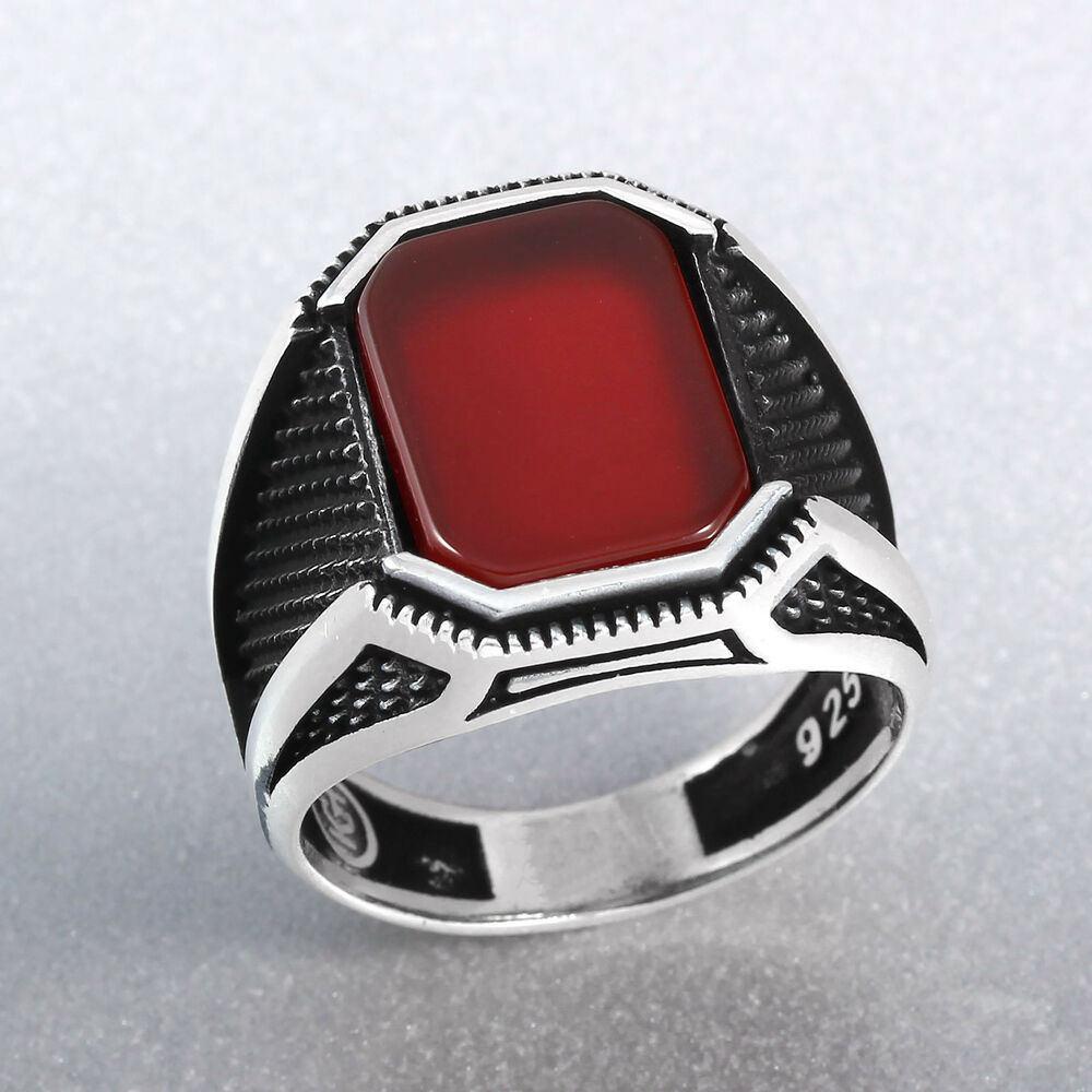 Silver Red Granite : Turkish handmade simulated red ruby stone sterling