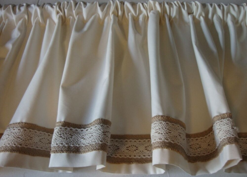 Valance Off White With Burlap And Lace Trim Decorator