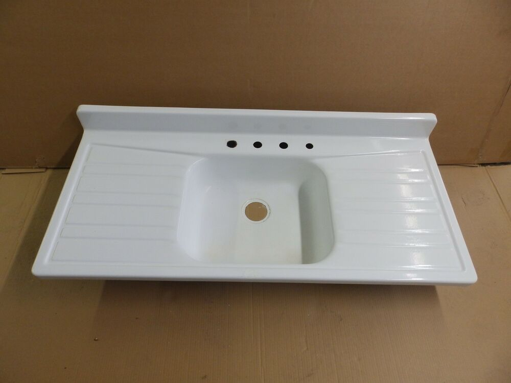white porcelain double kitchen sink vtg mid century steel white porcelain drainboard 1859