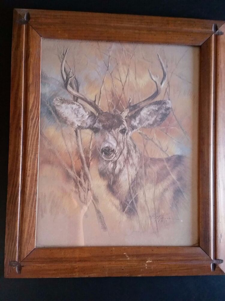 Vintage K. Maroon 1978 Silent Buck Deer With Wood Picture Frame | eBay