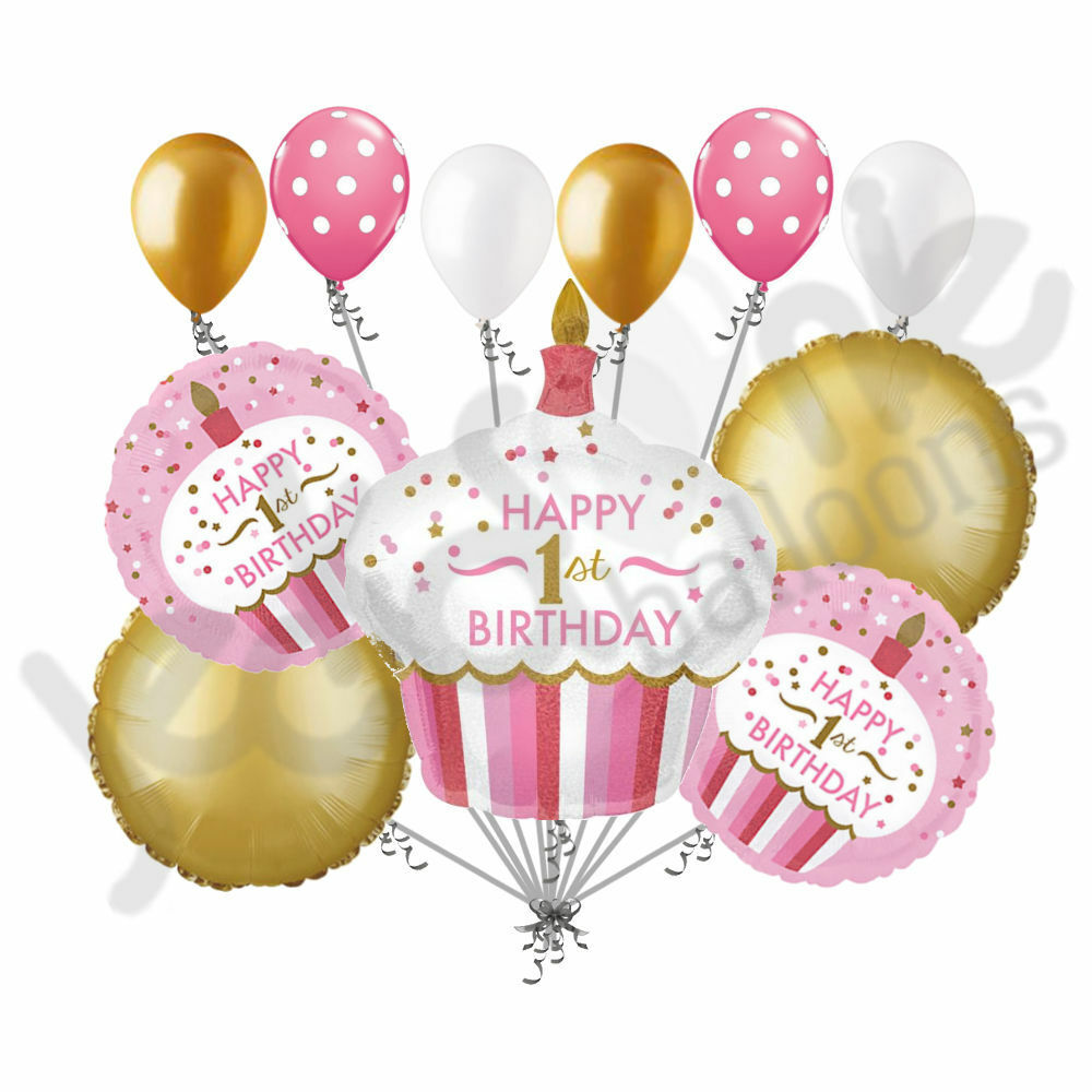 11 Pc 1st Cupcake Happy Birthday Balloon Bouquet Party