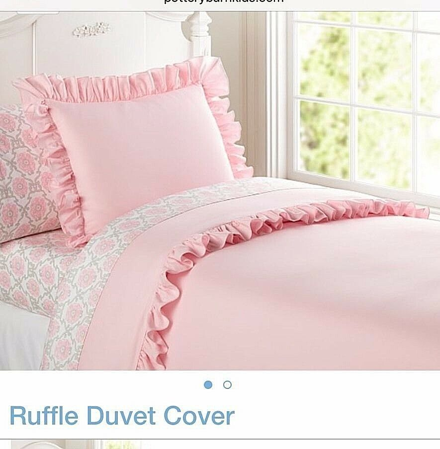 Pottery Barn Kids Ruffle Full Queen Duvet Cover Pink