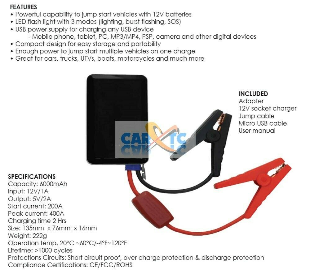 Jump Start Car Cell Phone Power Iphone Samsung Charger Pack All Galaxy Tablet To Usb Cable Wiring Diagram In One