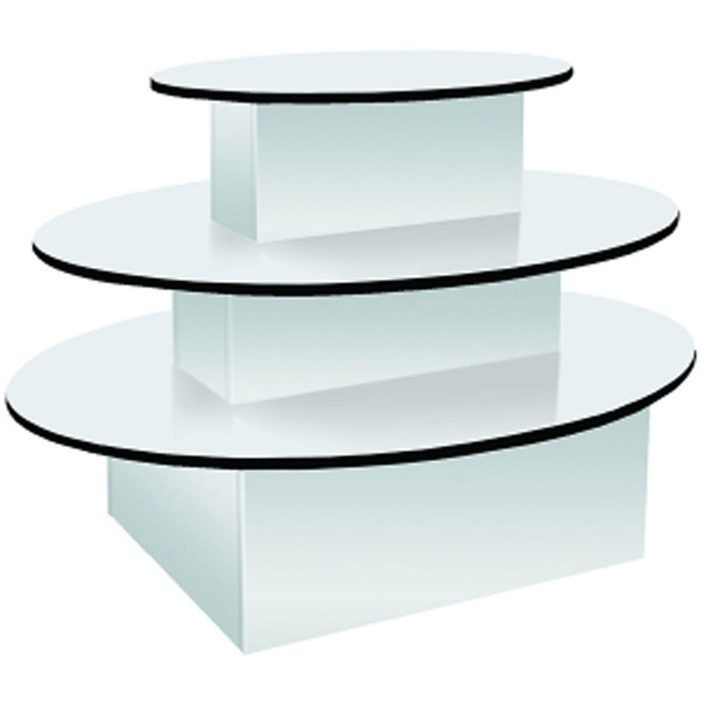 3 tier oval merchandiser display table clothing gift store white knockdown new ebay. Black Bedroom Furniture Sets. Home Design Ideas