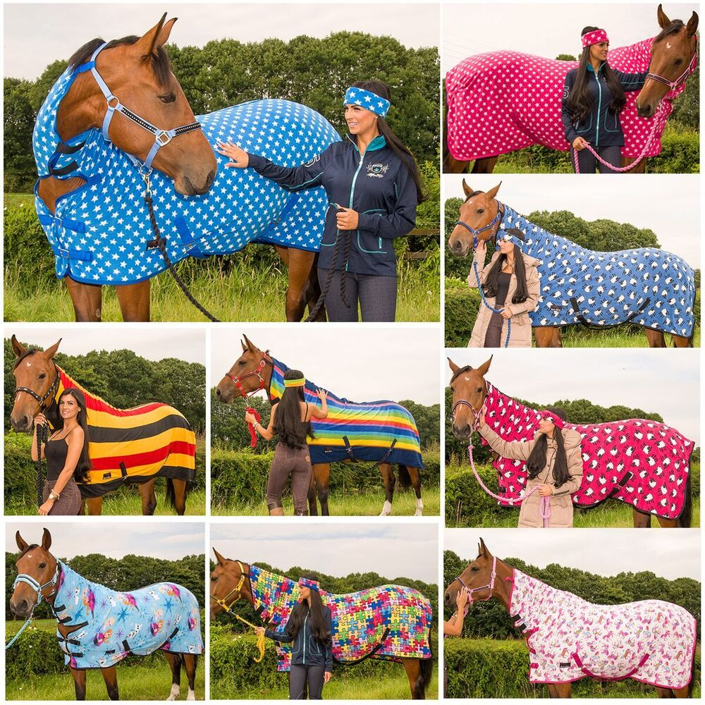 Pony Cob Horse Show Travel Le Cooler Sheet Printed Fleece Combo Rug Al Sizes Ebay