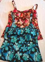 ST JOHNS BAY Floral Tankini Swim Top Swimsuit NWT 8T Brown