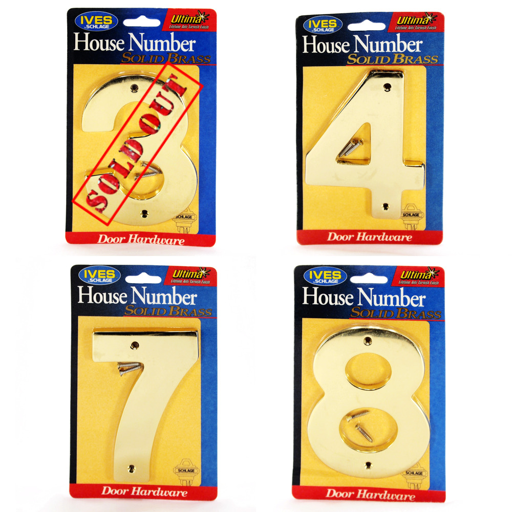 5 Solid Brass House Number Ives By Schlage Ultima Bright