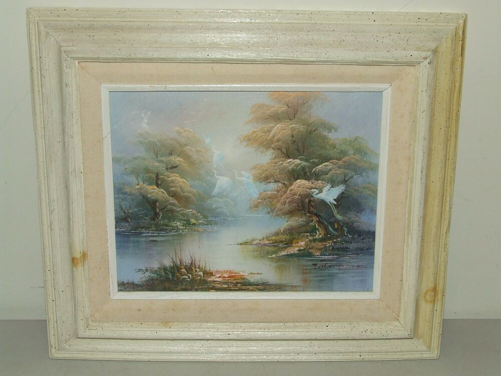 vintage small framed swans oil painting on canvas by