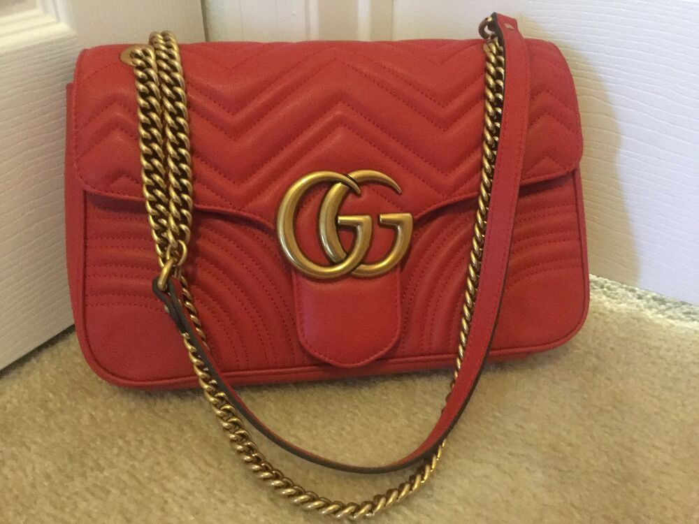 792106cdc38c Details about AUTHENTIC GUCCI GG MARMONT MATELASSE SHOULDER BAG MEDIUM RED  LEATHER