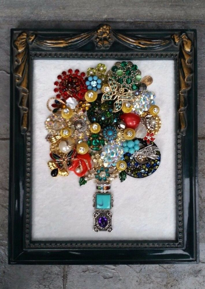 Vintage Framed Costume Jewelry Flower Bouquet Christmas