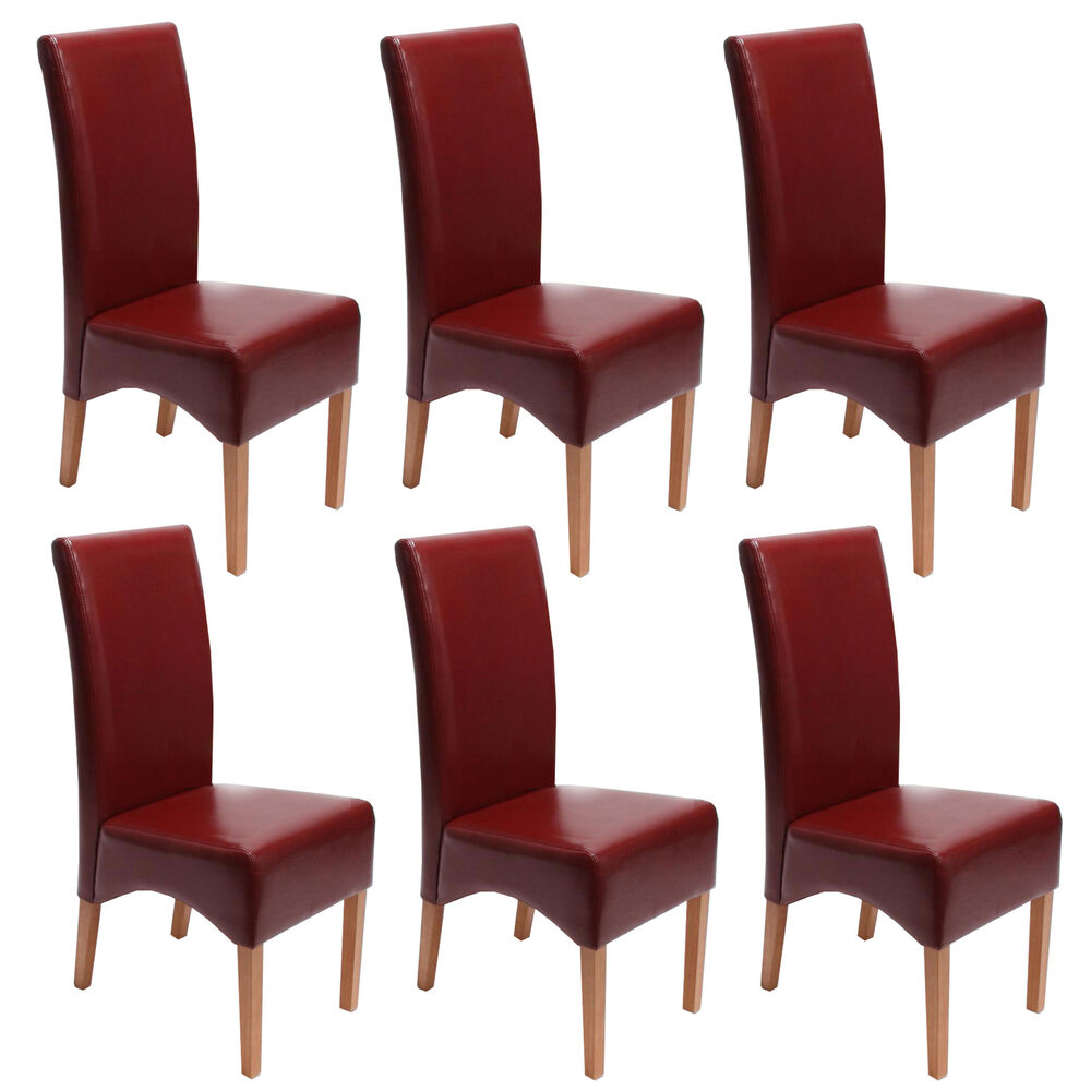 6x esszimmerstuhl crotone lehnstuhl stuhl leder rot helle beine ebay. Black Bedroom Furniture Sets. Home Design Ideas