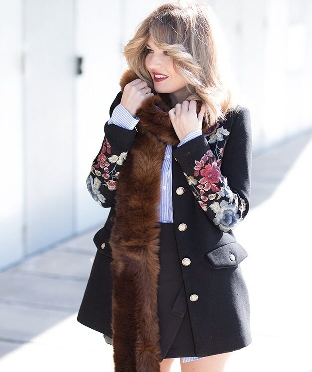 Zara black floral embroidered military style coat jacket