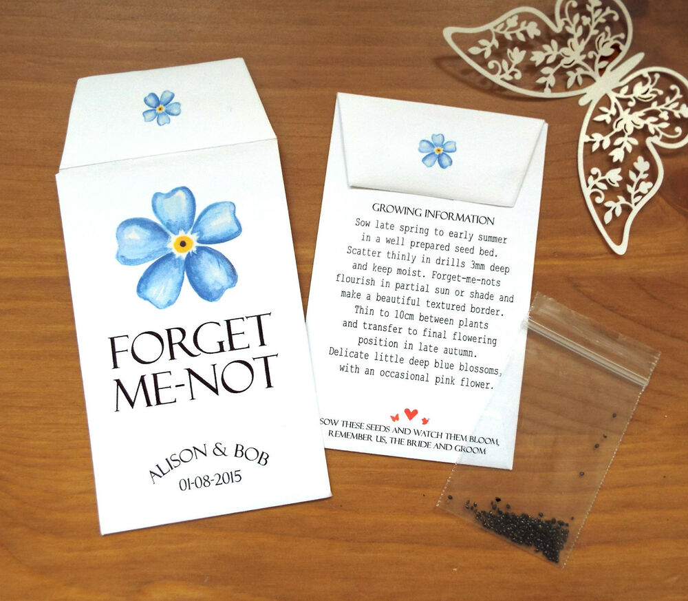 10 Forget Me Not Seed Packet Favours By Wedding In A