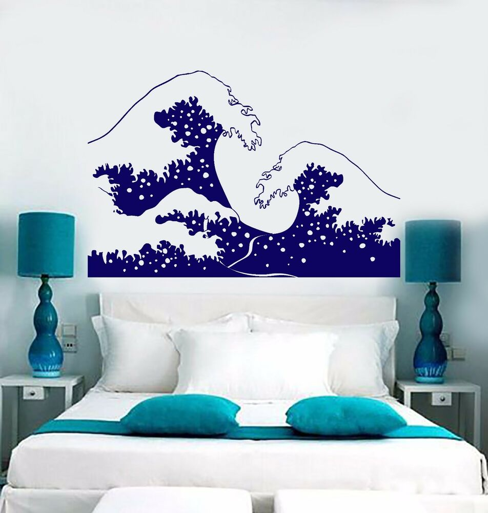 vinyl wall decal sea wave tsunami marine style ocean water. Black Bedroom Furniture Sets. Home Design Ideas