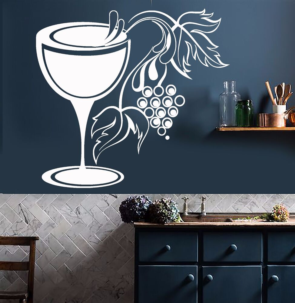 Vinyl wall decal glass grapes wine shop kitchen decor for Wine shop decoration