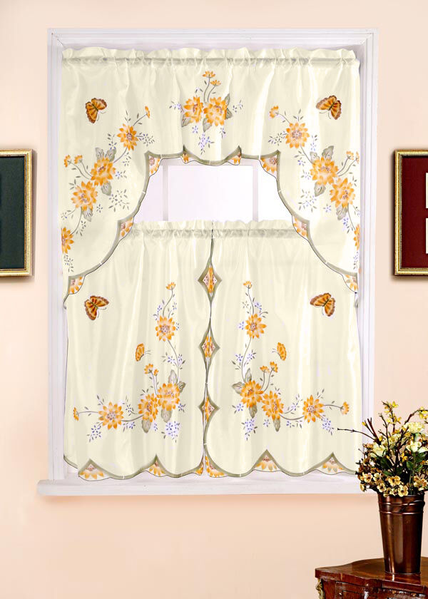 Floral Complete Tier Amp Swag Set Kitchen Curtain Set