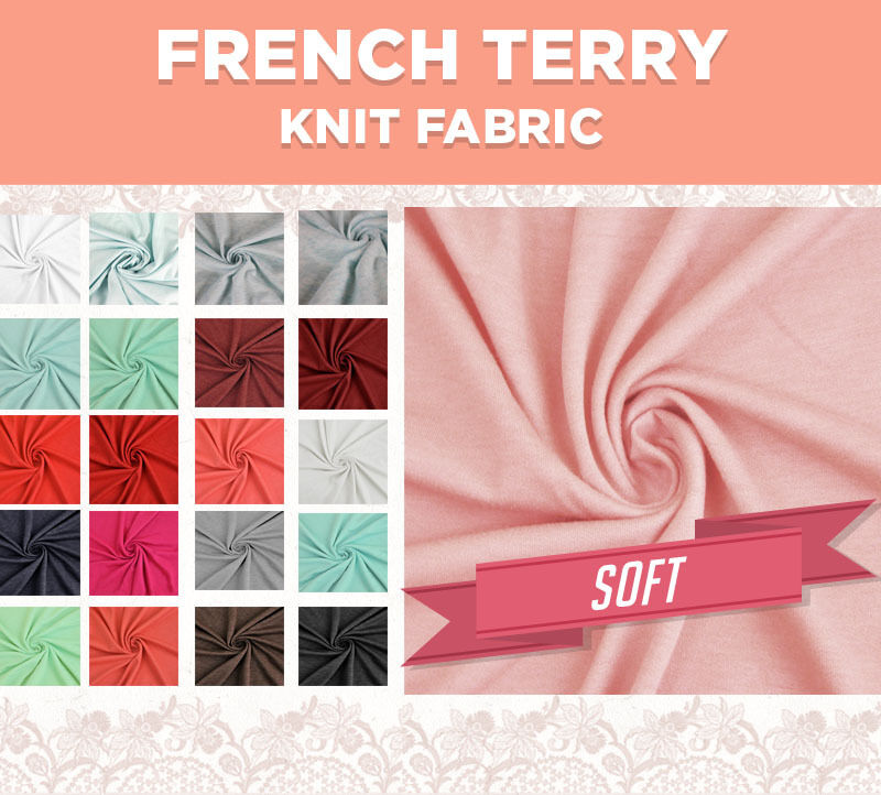 d454c37aa23 Solid French Terry Knit Fabric Poly Rayon Spandex Fabric by the Yard | eBay