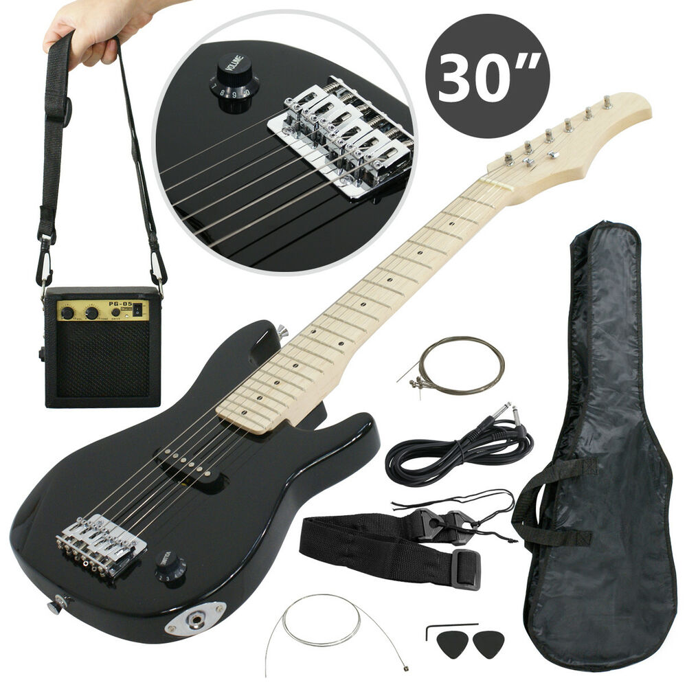 child electric guitar kids 30 black guitar with amp case strap and more ebay. Black Bedroom Furniture Sets. Home Design Ideas