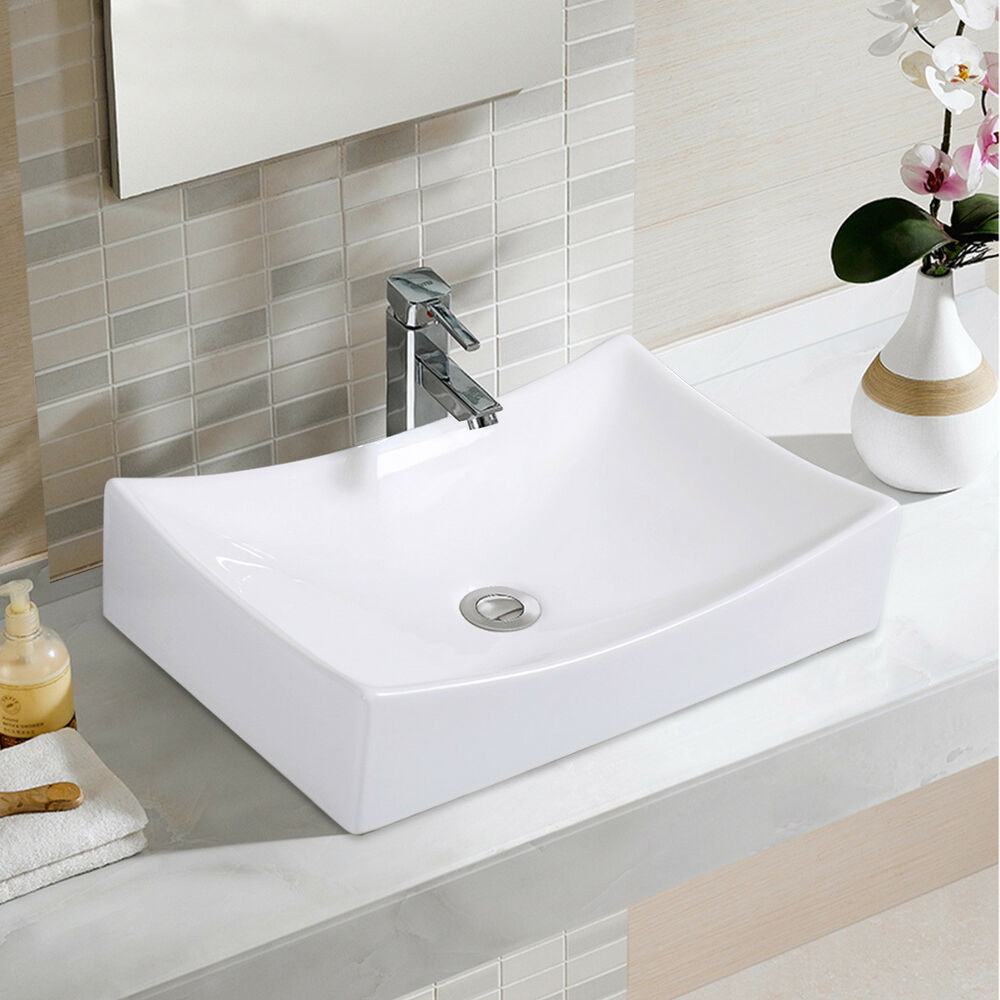 Bathroom Rhombus Ceramic Vessel Sink Vanity Pop Up Drain
