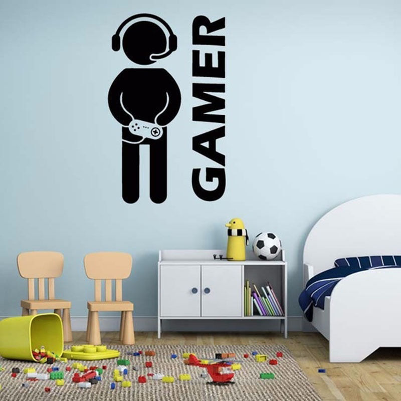Removable Diy Room Decor Games Gamer Quote Word Decal